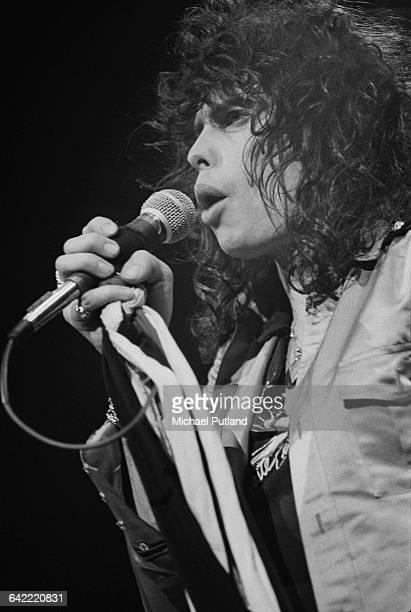 Singer Steven Tyler performing with American hard rock band Aerosmith USA November 1978