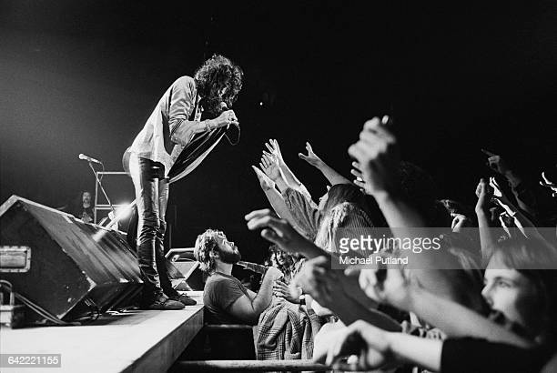 Singer Steven Tyler performing with American hard rock band Aerosmith USA November 1978