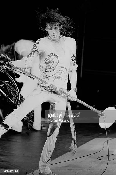 Singer Steven Tyler performing with American rock group Aerosmith 15th April 1979