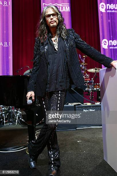 Singer Steven Tyler speaks onstage during the 24th Annual Elton John AIDS Foundation's Oscar Viewing Party at The City of West Hollywood Park on...