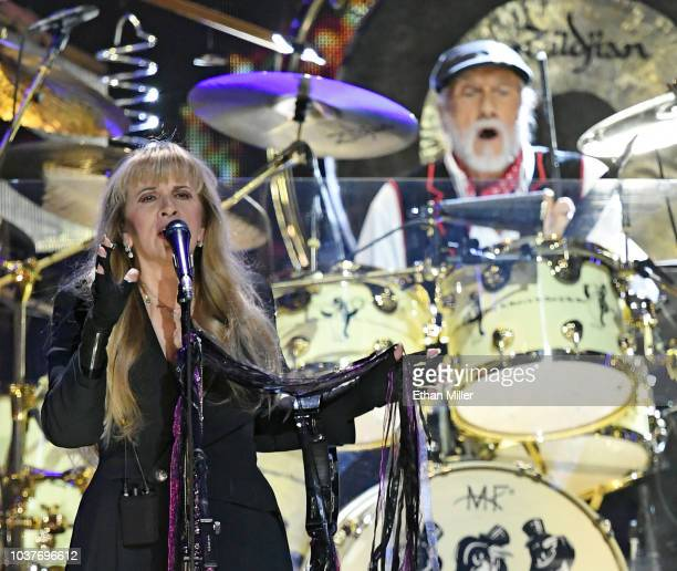 Singer Stevie Nicks and drummer Mick Fleetwood of Fleetwood Mac perform during the 2018 iHeartRadio Music Festival at TMobile Arena on September 21...