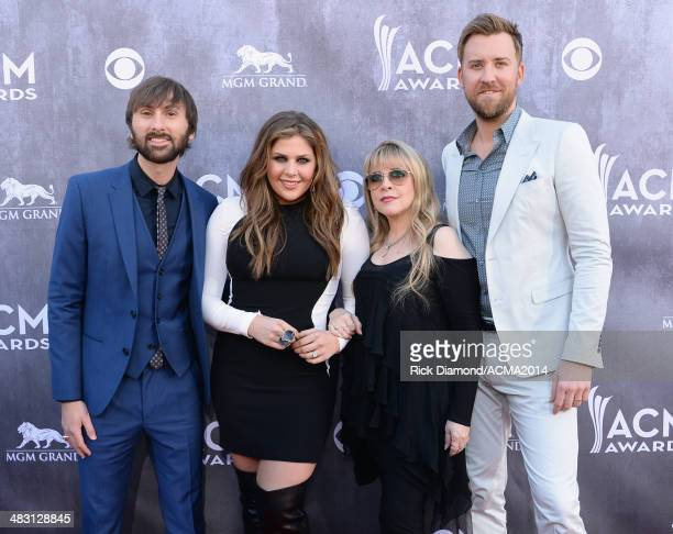 Singer Stevie Nicks and musicians Dave Haywood Hillary Scott and Charles Kelley of Lady Antebellum attend the 49th Annual Academy of Country Music...