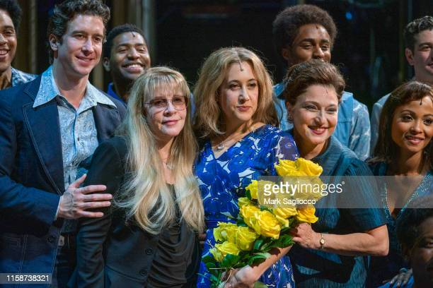 Singer Stevie Nicks of Fleetwood Mac and Vanessa Carlton appear onstage during the curtain call for Carlton's debut in Beautiful The Carol King...