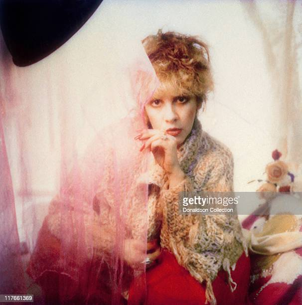Singer Stevie Nicks poses for a photo backstage in 1985 in Los Angeles California