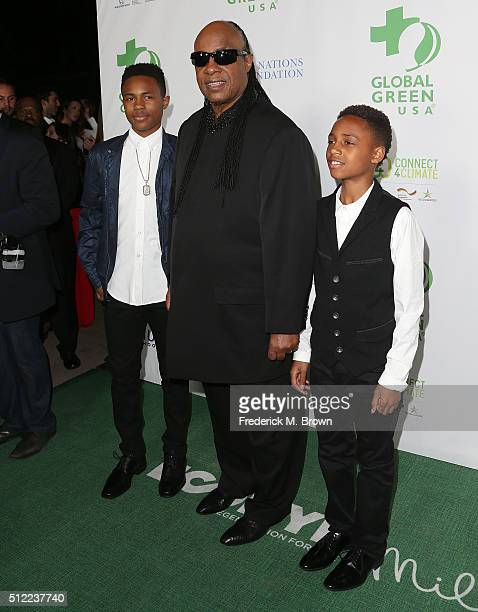Singer Stevie Wonder and his sons attend the Global Green USA's 13th Annual PreOscar Party at the Mr C Beverly Hills Hotel on February 24 2016 in...
