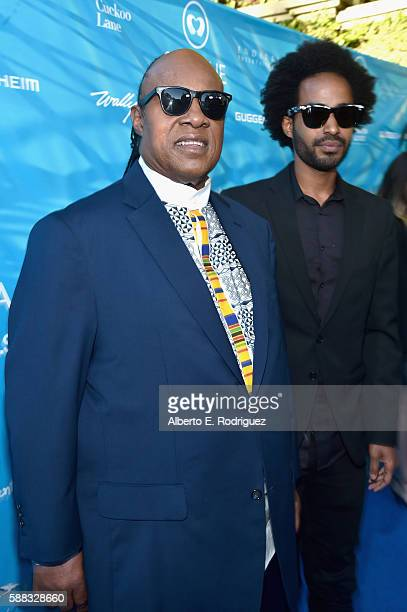 Singer Stevie Wonder and Kwame Morris attend the special event for UN SecretaryGeneral Ban Kimoon hosted by Brett Ratner and David Raymond at...