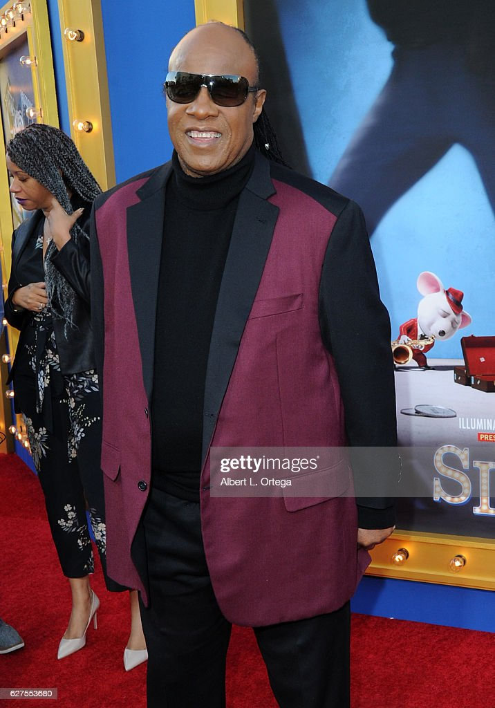 Singer Stevie Wonder arrives at the Premiere Of Universal Pictures' 'Sing' held at Microsoft Theater on December 3, 2016 in Los Angeles, California.