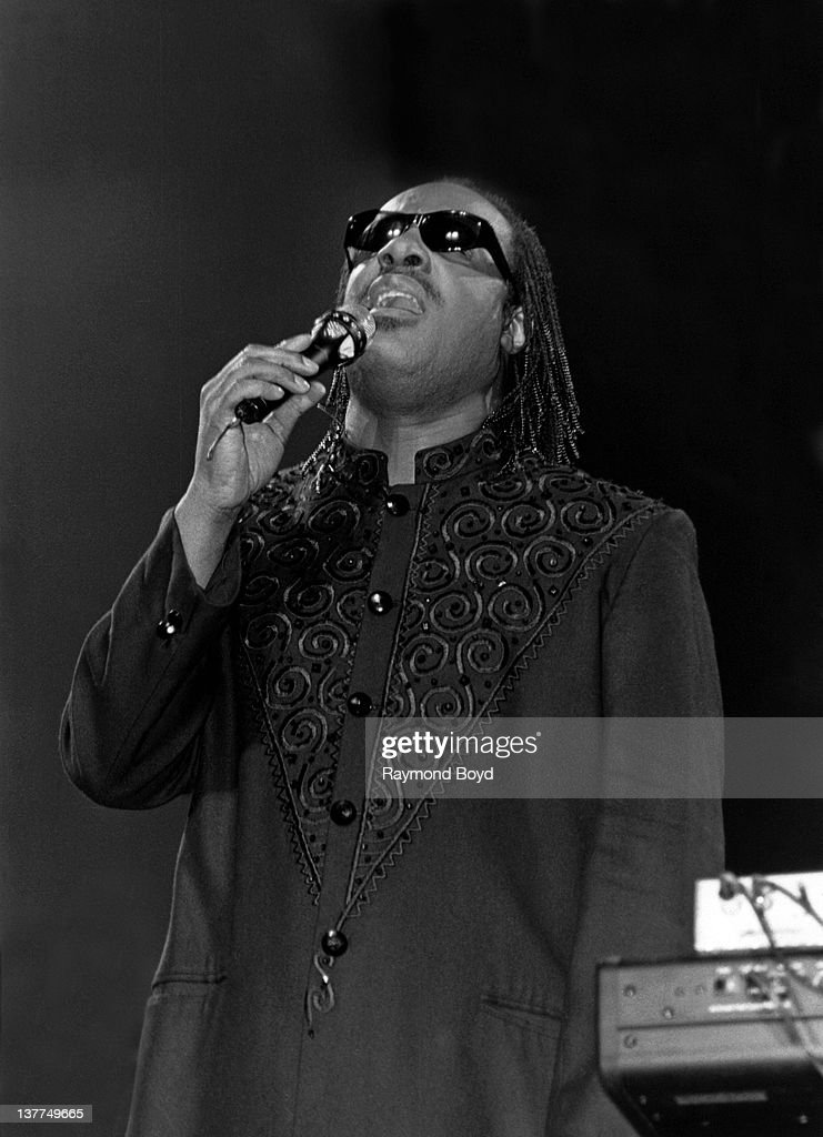Singer Stevie Wonder performs at the Arie Crown Theater in Chicago, Illinois in 1995.
