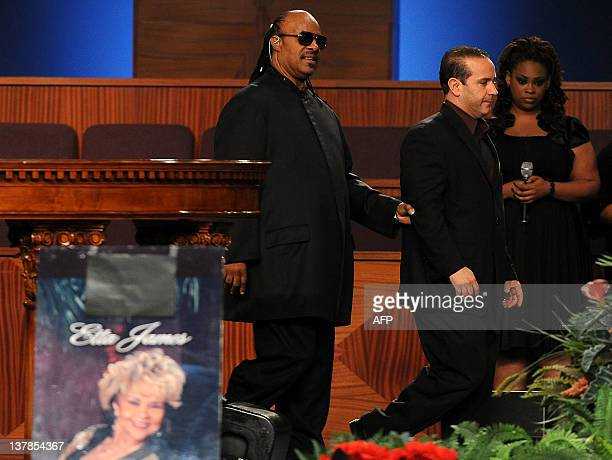 Singer Stevie Wonder performs at the Etta James' funeral 2012 in Gardena California on January 28 2012 AFP PHOTO/VALERIE MACON