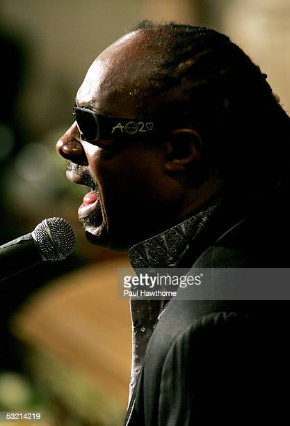Singer Stevie Wonder performs during the funeral of Luther Vandross at Riverside Church July 8 2005 in New York City