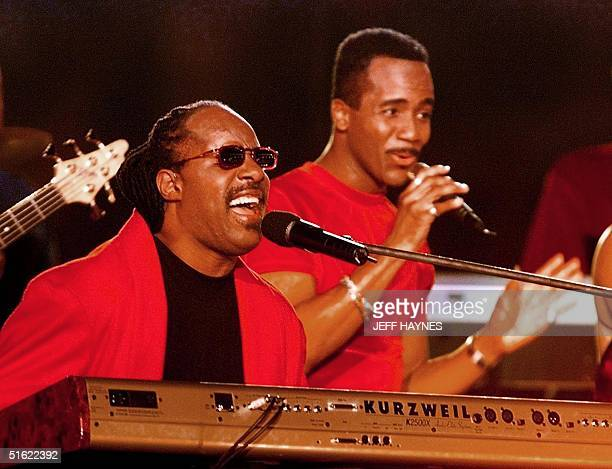 US singer Stevie Wonder performs during the halftime show at Super Bowl XXXIII 31January at Pro Player Stadium in Miami FL The Denver Broncos and...