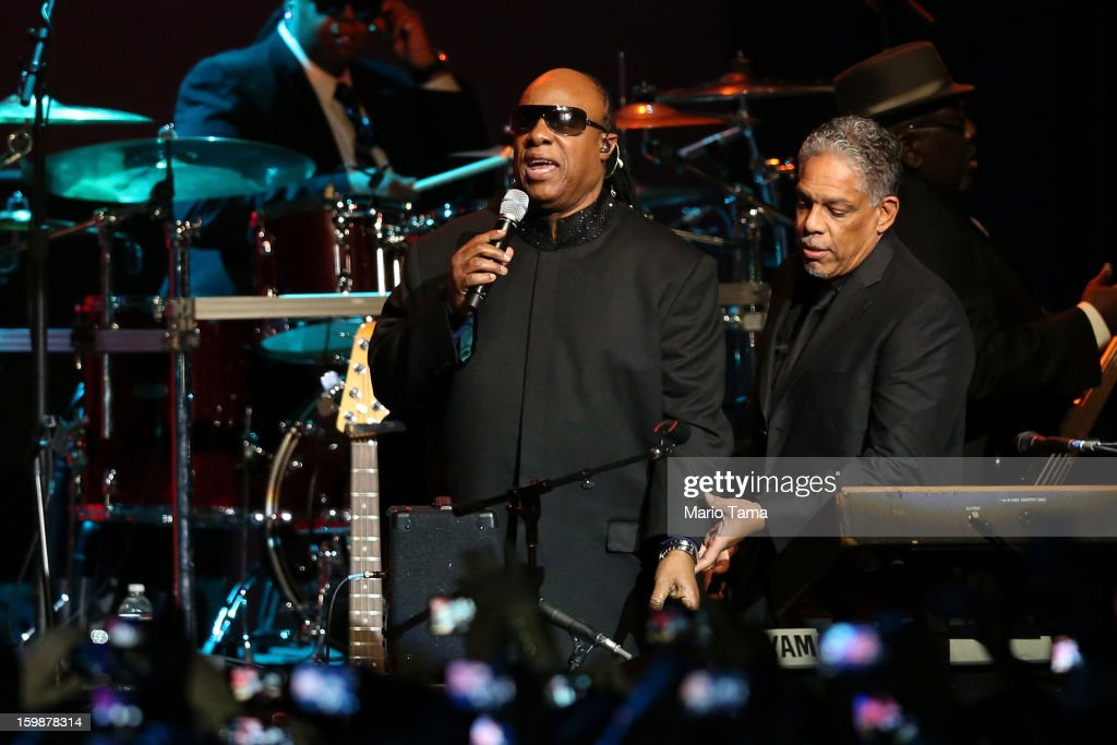 Singer Stevie Wonder performs during the Public Inaugural Ball at the Walter E. Washington Convention Center on January 21, 2013 in Washington, DC. U.S. President Barack Obama was sworn in for his second term earlier in the day.