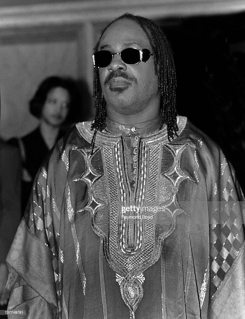 Singer Stevie Wonder poses for photos at the Hyatt Hotel in Chicago, Illinois in 1995.