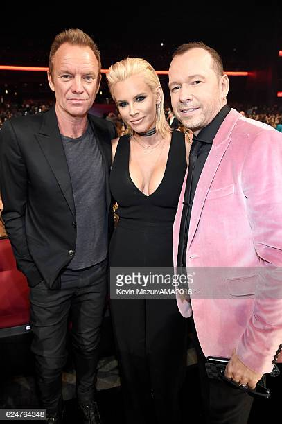 Singer Sting actress Jenny McCarthy and actor Donnie Wahlberg attend the 2016 American Music Awards at Microsoft Theater on November 20 2016 in Los...