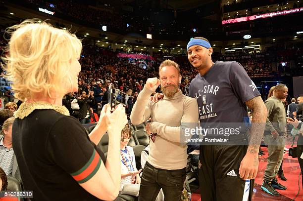 Singer Sting and Carmelo Anthony of the East AllStars poses for a photo prior to the NBA AllStar game on February 14 2016 at the Air Canada Centre in...