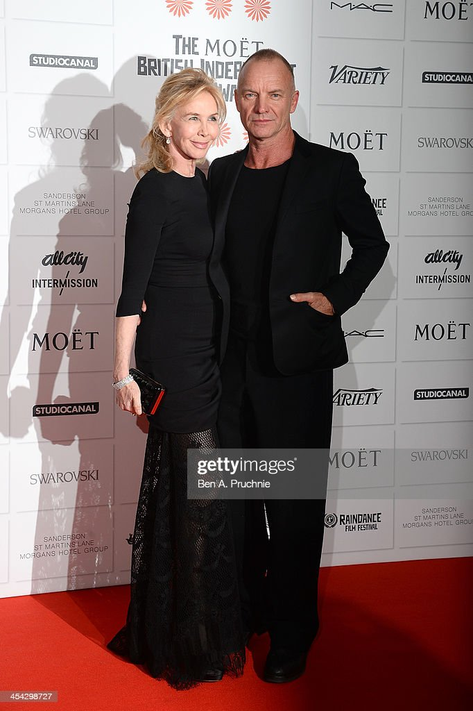 Singer Sting and his wife Trudie Styler arrive on the red carpet for the Moet British Independent Film Awards at Old Billingsgate Market on December 8, 2013 in London, England.
