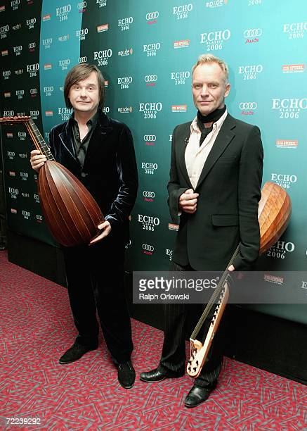 Singer Sting and lutenist Edin Karamazov pose for photographers after performing at the Echo Klassik 2006 on October 22 2006 in Munich Germany
