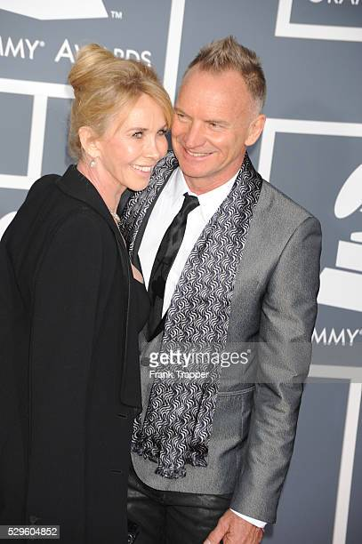 Singer Sting and Trudy Styler arrive at the 55th Annual Grammy Awards held at the Staples Center in Los Angeles