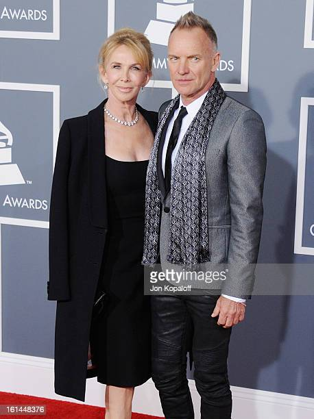 Singer Sting and wife Trudie Styler arrive at The 55th Annual GRAMMY Awards at Staples Center on February 10 2013 in Los Angeles California