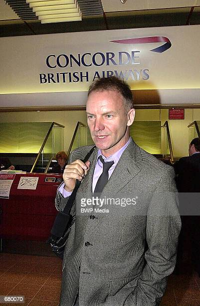 Singer Sting arrives at Heathrow airport in London November 7 to check in for the first Concorde passenger flight since the Paris crash last year of...