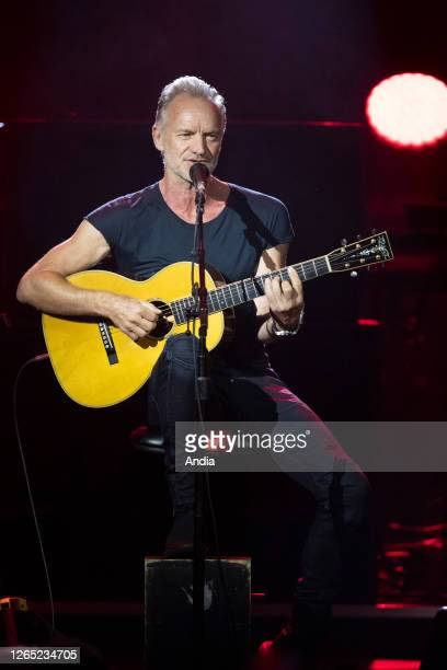Singer Sting on stage during a concert at the Monte-Carlo Sporting concert hall in Monaco on .