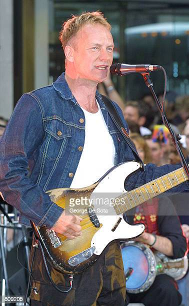 Singer Sting performs May 4 2001 on the Today Summer Concert Series 2001 at Rockefeller Plaza in New York City