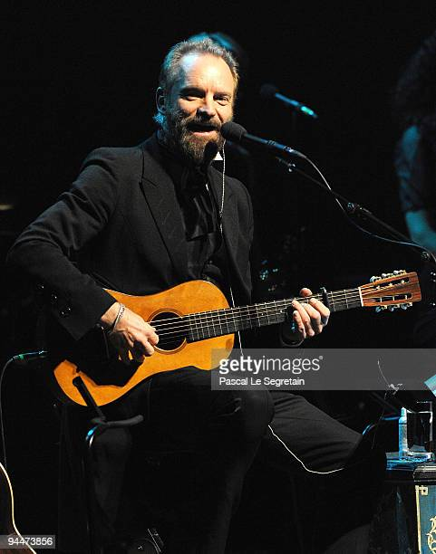 Singer Sting Performs on stage at Salle Pleyel on December 15, 2009 in Paris, France.