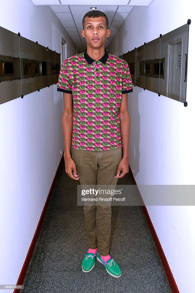 Singer Stromae attends 'Vivement Dimanche' French TV Show at Pavillon Gabriel on September 18, 2013 in Paris, France.