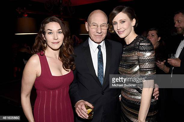 Singer Sunny Ozell, actors Sir Patrick Stewart and Vera Farmiga attend the after party for the 20th annual Critics' Choice Movie Awards at the...