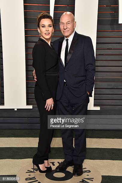 Singer Sunny Ozell and actor Patrick Stewart attend the 2016 Vanity Fair Oscar Party Hosted By Graydon Carter at the Wallis Annenberg Center for the...