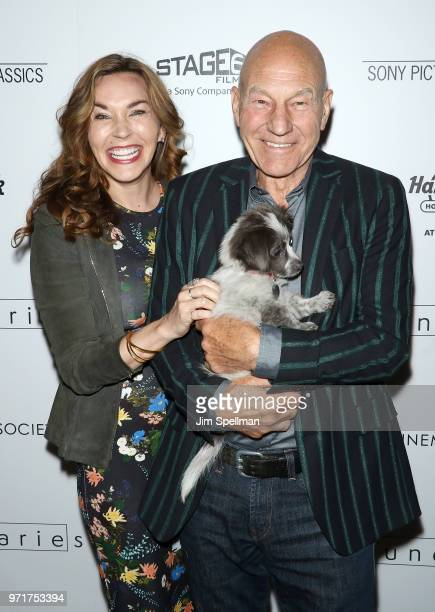 "Singer Sunny Ozell and actor Patrick Stewart attend the screening of Sony Pictures Classics' ""Boundaries"" hosted by The Cinema Society with Hard Rock..."