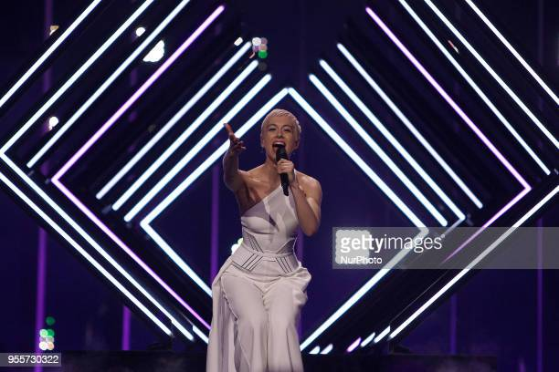 Singer SuRie of United Kingdom performs during the Dress Rehearsal of the first SemiFinal of the 2018 Eurovision Song Contest at the Altice Arena in...