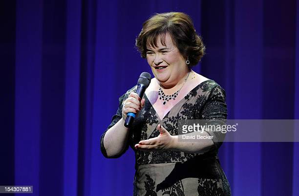 Singer Susan Boyle performs during the Donny Marie variety show at the Flamingo Las Vegas October 17 2012 in Las Vegas Nevada