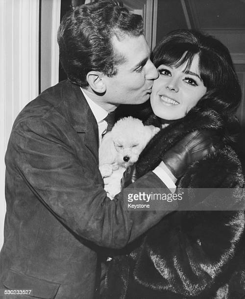 Singer Susan Maughan being kissed on the cheek by her fiancee Nicholas Teller February 5th 1965