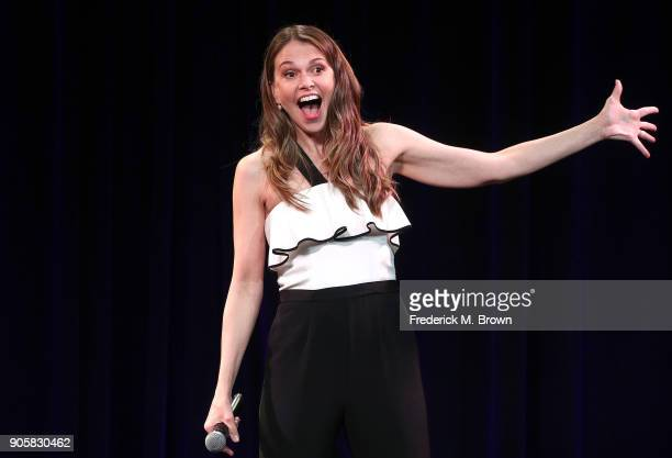Singer Sutton Foster performs during the 2018 Winter Television Critics Association Press Tour at The Langham Huntington Pasadena on January 16 2018...