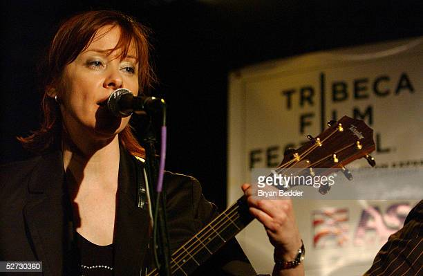 Singer Suzanne Vega performs during the Tribeca Film Festival Music Panel at The ASCAP Lounge. The ASCAP Music Lounge is dedicated to showcasing the...