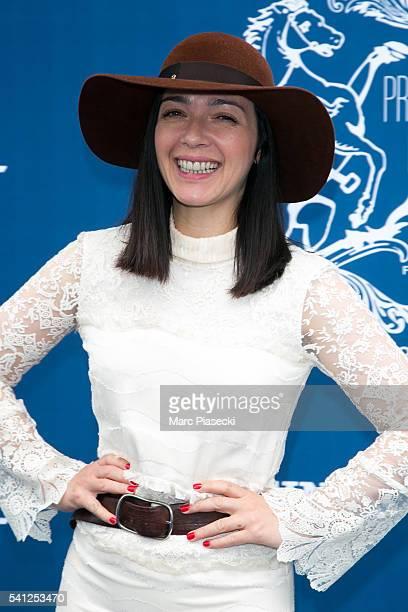 Singer Sylvie Hoarau of 'Brigitte' attends the 'Prix de Diane Longines' on June 19 2016 in Chantilly France