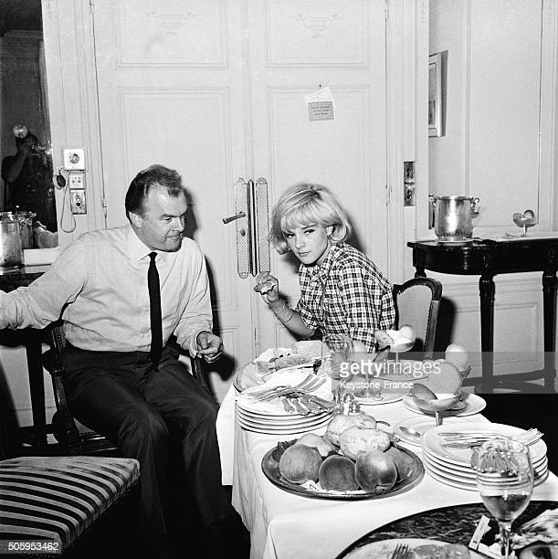 Singer Sylvie Vartan And Her Manager Johnny Stark In A Hotel During Tour In France on August 24 1963