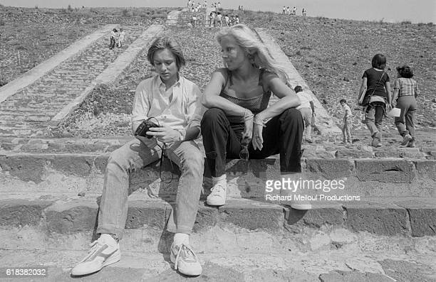 Singer Sylvie Vartan and her son David Hallyday relax during a vacation in Mexico David's father is popular French singer Johnny Hallyday
