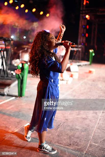 Singer SZA performs onstage during day 2 of the 2016 Coachella Valley Music Arts Festival Weekend 2 at the Empire Polo Club on April 23 2016 in Indio...