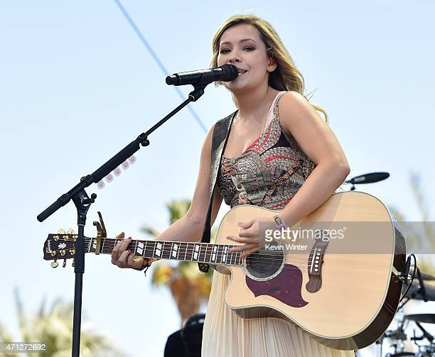 Singer Tae Dye of Maddie Tae perform onstage during day three of 2015 Stagecoach California's Country Music Festival at The Empire Polo Club on April...