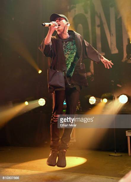 "Singer Takahiro ""Taka"" Moriuchi of One OK Rock performs as the band kicks off the Ambitions U.S. Tour 2017 at Brooklyn Bowl Las Vegas on July 6, 2017..."