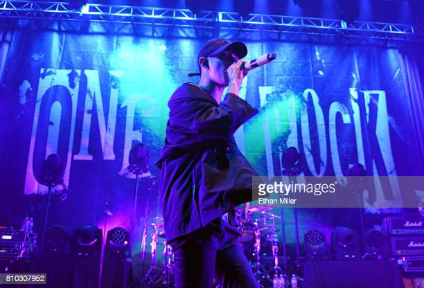 Singer Takahiro Taka Moriuchi of One OK Rock performs as the band kicks off the Ambitions US Tour 2017 at Brooklyn Bowl Las Vegas on July 6 2017 in...