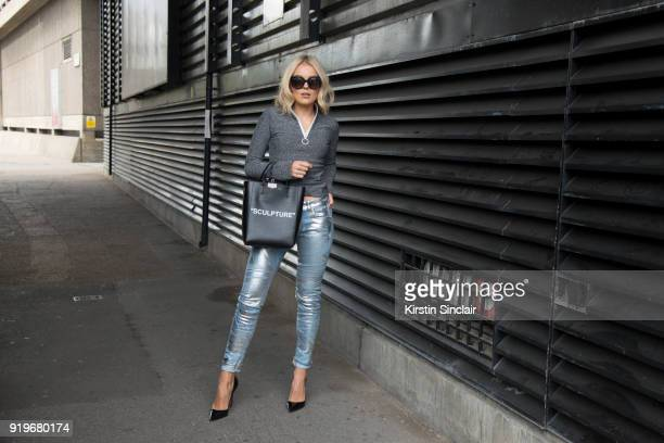 Singer Tallia Storm wears Off White jeans bag and top Christian Louboutin shoes and on day 2 of London Womens Fashion Week Autumn/Winter 2018 on...