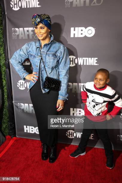 Singer Tamar Braxton and son Logan Vincent Herbert attend the Pan African Film Festival red carpet and screening of Marvel Studios Black Panther at...