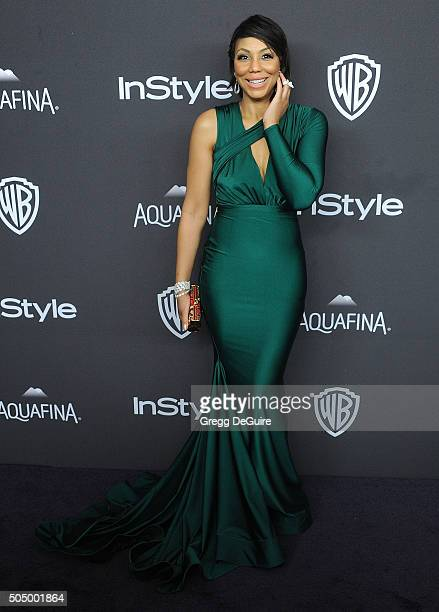 Singer Tamar Braxton arrives at the 2016 InStyle And Warner Bros 73rd Annual Golden Globe Awards PostParty at The Beverly Hilton Hotel on January 10...