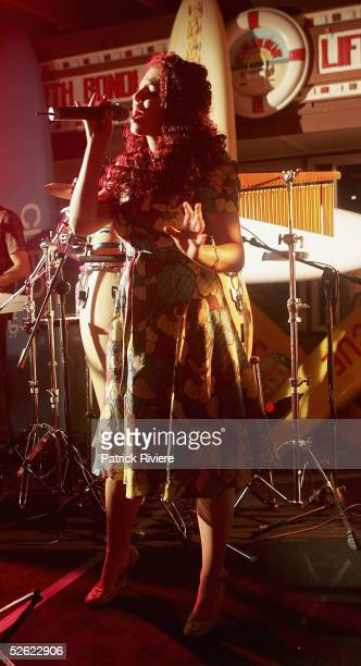 Singer Tamara Jaber performs at the Cleo Centrefold sizzling VIP and Celebrity BBQ at the North Bondi Surf Life Saving Club on April 13, 2005 in...