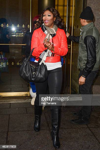 Singer Tamara 'Taj' JohnsonGeorge of SWV enters the Sirius XM Studios on January 15 2014 in New York City
