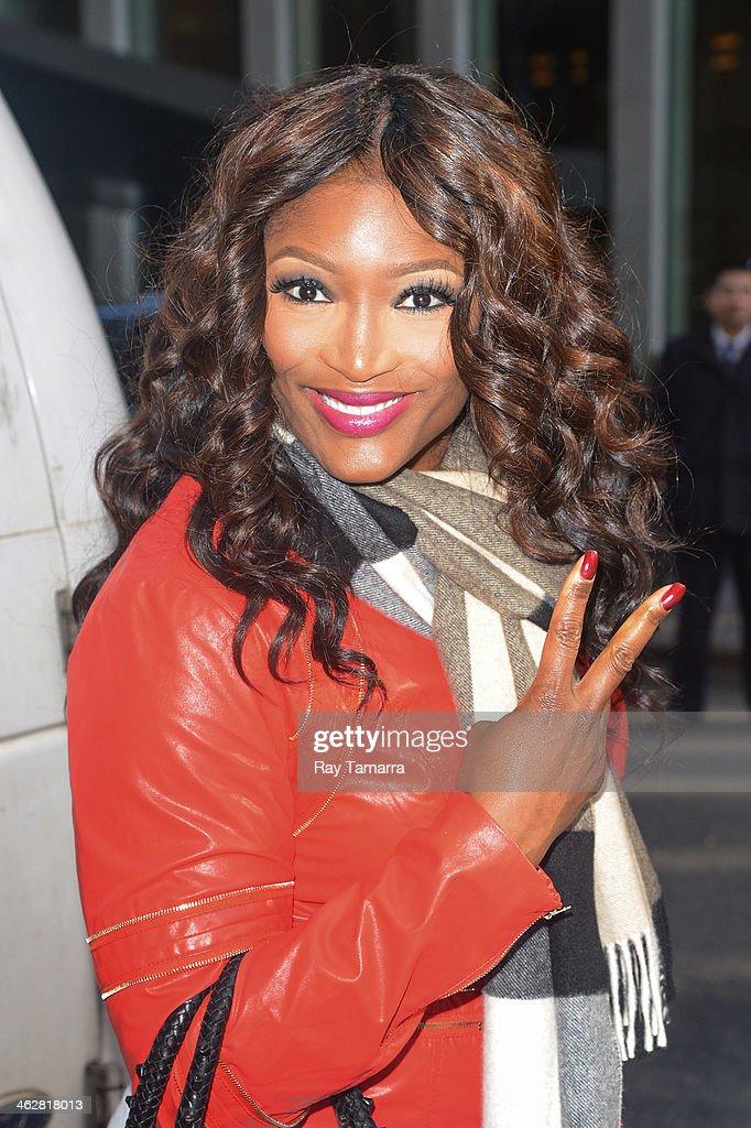 Singer Tamara 'Taj' Johnson-George, of SWV, enters the Sirius XM Studios on January 15, 2014 in New York City.