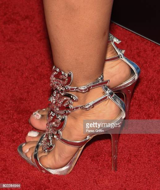 Singer Tameka 'Tiny' Harris of Xscape shoe detail at 'Bossip On WE' Atlanta Launch Celebration at Elevate at W Atlanta Midtown on June 27 2017 in...